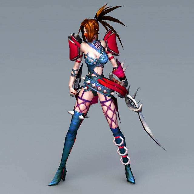 Anime Female Assassin Character 3d Model 3ds Max Files