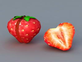 Half Cut Strawberry 3d model