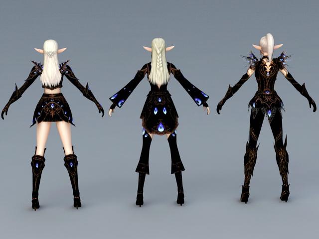 High Elf Female Armor Set 3d model - CadNav