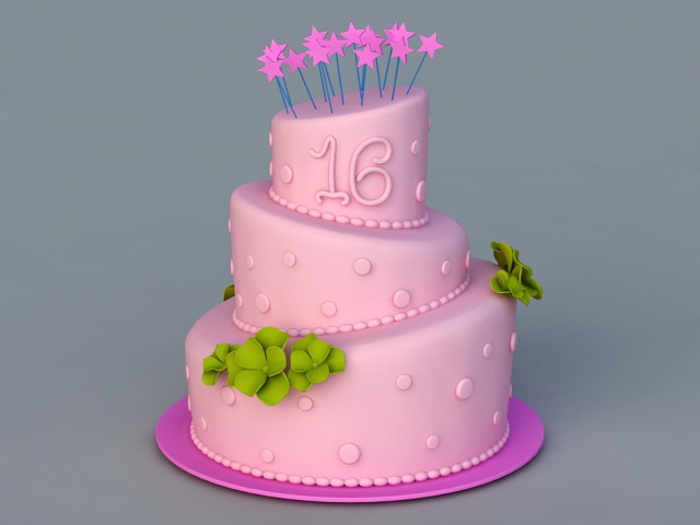 Sweet 16 Birthday Cake 3d model