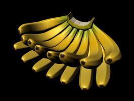 Fruit Banana Bunch 3d model