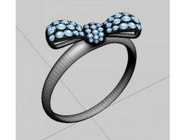 Gem and Gold Butterfly Ring 3d model