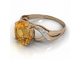 Golden Topaz Ring 3d model