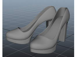 Chunky Heel Platform Pumps 3d model