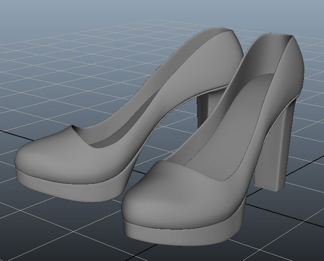 c1c85567dfc03 Stiletto High Heel Shoes · Chunky Heel Platform Pumps 3d model