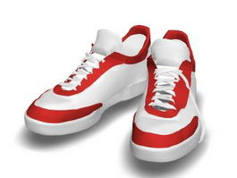 Red and White Basketball Shoes 3d model