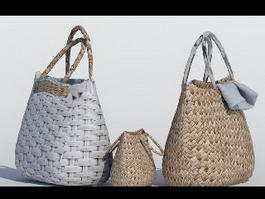 Wicker Rattan Straw Handbags 3d model