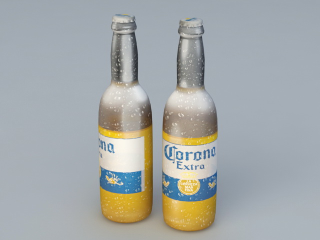 Corona Extra Beer Bottle 3d model Object files free download