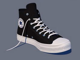 Black Converse Shoes High Tops 3d model