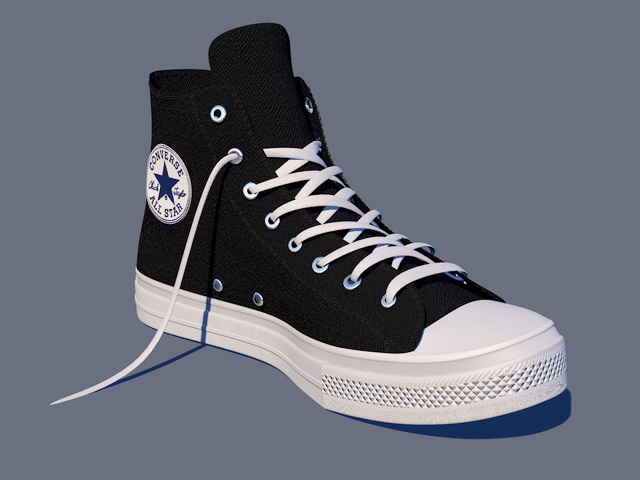 fdf249aca3e Black Converse Shoes High Tops 3d model Cinema 4D files free ...