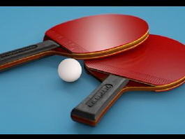 Ping Pong Table Tennis Rackets Ball 3d model