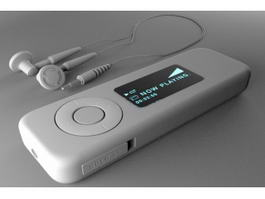 MP3 Player with Earphones 3d model