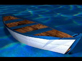 Wooden Row Boat 3d model