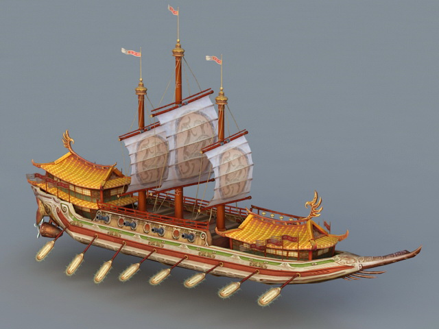 Ancient Chinese War Ship 3d model 3ds Max files free ...