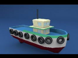 Cartoon Tugboat 3d model