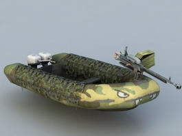 Armored Inflatable Boat 3d model