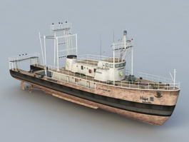 Old Fishing Ship 3d model