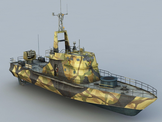 River Gunboat 3d Model 3ds Max Object Files Free Download