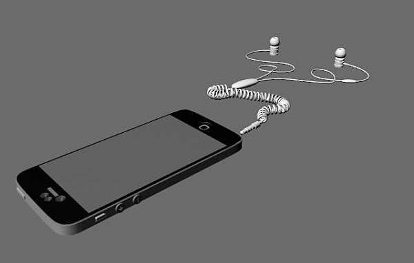 iPhone 5 and Headphone 3d model