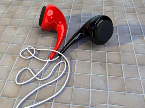 Red and Black Earbuds 3d model