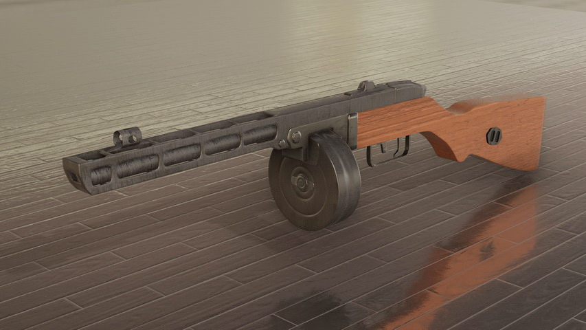 PPSh-41 with Drum Magazine 3d model