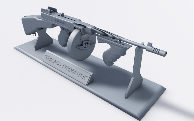 4a67adfbad87 Tommy Gun 3D Model. Highly detailed 3d model of Thompson submachine ...