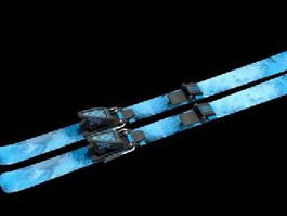 Blue Alpine Skis 3d model