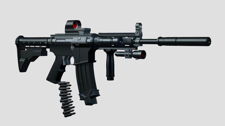 M4 Assault Rifle 3d model Cinema 4D files free download