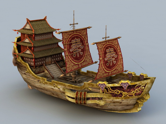 Ancient Chinese Merchant Vessel 3d Model Object Files Free