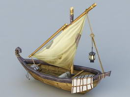 Medieval Fishing Boat 3d model