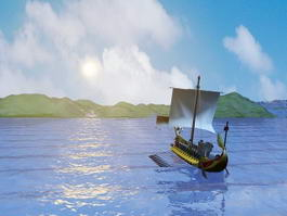 Ocean Sunset Boat 3d model