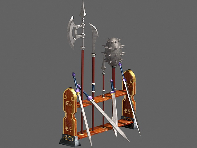 Medieval Weapon Rack 3d model 3ds Max files free download