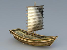 Old Sailing Boat 3d model