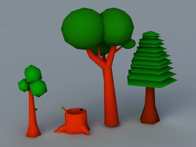 Cartoon Tree 3d model Blender,Autodesk FBX files free download