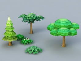 Cartoon Trees and Shrubs 3d model
