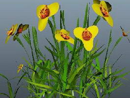 Yellow Flower Grass 3d model