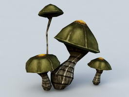 Black Mushrooms 3d model