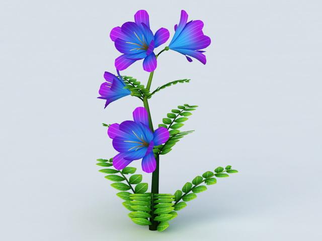 Blue Flowers Grass 3d model