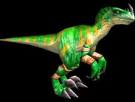 Green Raptor Dinosaur Rigged 3d model
