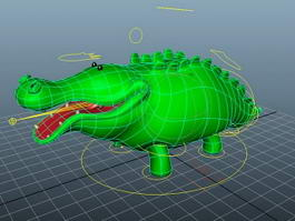 Cartoon Green Crocodile 3d model