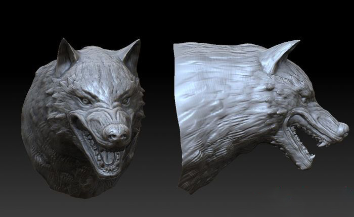 Wolf Head Sculpture 3d Model Object Files Free Download