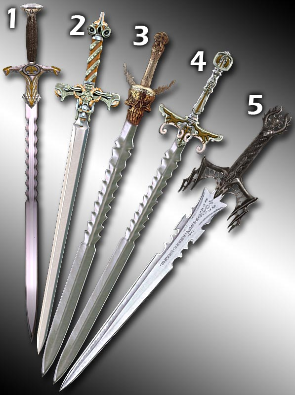 Serrated Long Swords 3d rendering