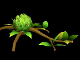 Cartoon Tree Branch 3d model