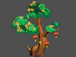 Cartoon Osmanthus Tree 3d model