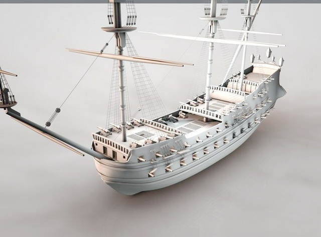 Old Pirate Ship 3d model Cinema 4D files free download - modeling