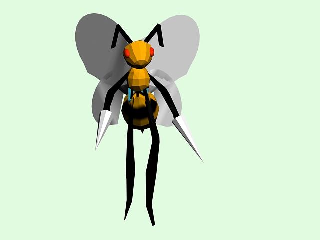 Cartoon Bee Walk Rig 3d model