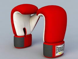 Red Boxing Gloves 3d model