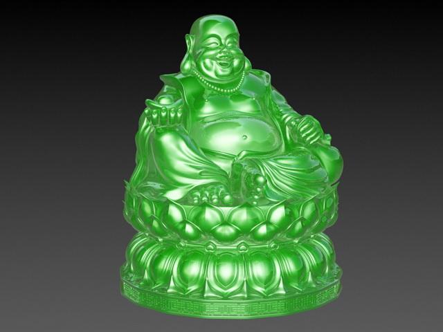 Jade Laughing Buddha Statue 3d model