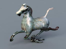 Ancient Bronze Horse Statue 3d model