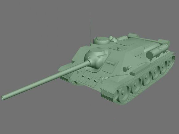SU-100 Tank Destroyer 3d model